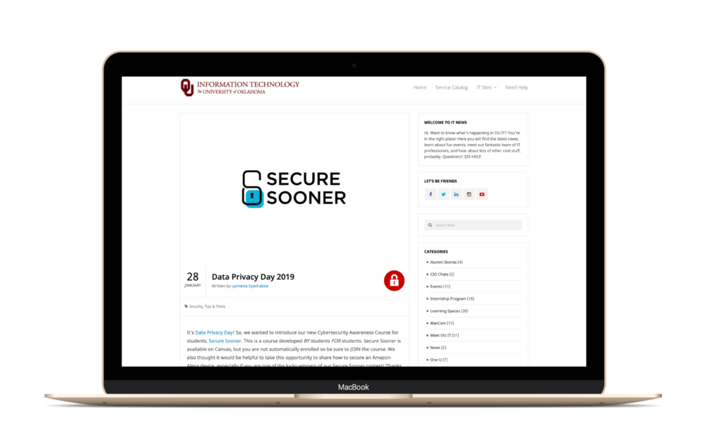 Secure Sooner Blog Feature